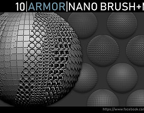 Zbrush - Armor Nano Brush and Meshes lowpoly 3D model