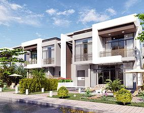 3D model modern quadro 4 villas lumion and sketchup