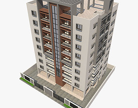 low-poly Apartment Building 3D model