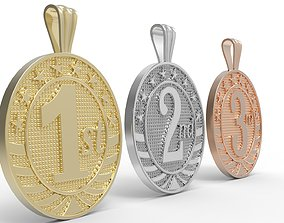3D print model medallion 1st and 2nd and 3rd