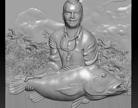 3D panno man with fish