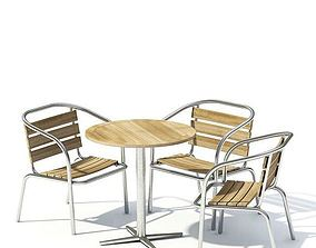 Wooden Furniture Set Table And Chairs 3D model