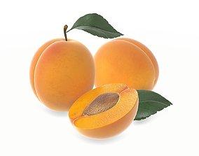 apricot fresh cut fruits with leaf 3D
