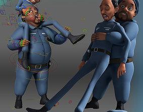 Cartoon Police Men 3D model