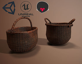 3D model Wicker Baskets Low poly PBR Game ready