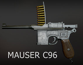 Mauser C96 lowpoly game-ready PBR 3D asset