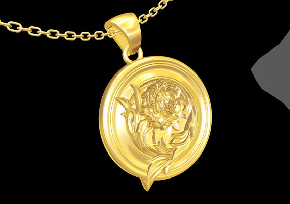 Plate with Flower pendant jewelry gold necklace 3D print model