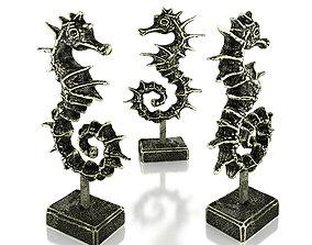 Dragon Like Seahorse Bronze Statuette details 3D