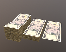 3D asset 5 Dolar Bill and Stack