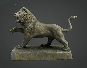 Lion Statue Game Model low-poly