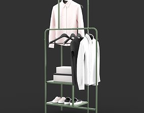 IKEA NIKKEBY Clothes rack gray-green and red colors 3D
