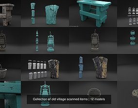 3D model Collection of old village scanned items