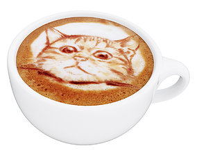 Latte coffee cup Cat 3D