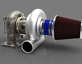 Turbocharger with air filter 3D model