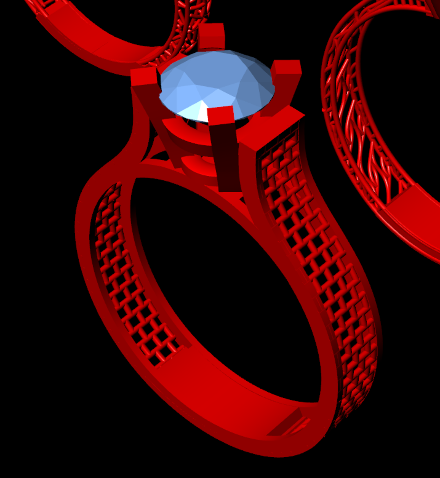 One gem simple engagement ring,solitaire 3D print model