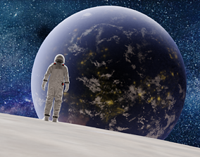 sci fi moon and astronaut looking earth landscape 3D