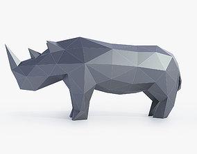 Low Poly Rhinoceros 3D model game-ready