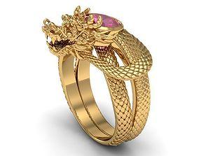 ring ruby dragon around finger 3D print model