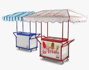 3D model awning Hand Trolley with Ice Cream Freezer