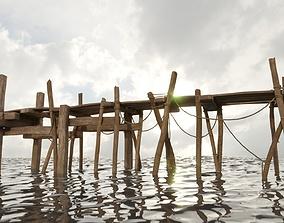 Wood Pier 3D asset low-poly
