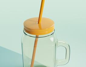 Glass Smoothie Milkshake Jar With Straw 3D model
