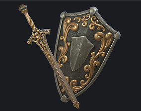 Fantasy sword with scabbard and shield 3D asset
