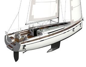 Sailing Yacht 3D model dock