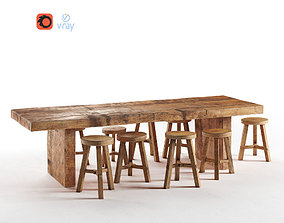 furniture 3D asset VR / AR ready Wooden Dining Table