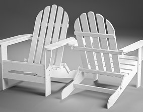 White Plastic Adirondack Chair 3D