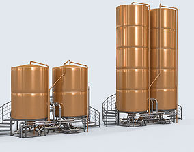 3D beer tanks for brewery and bar entourage