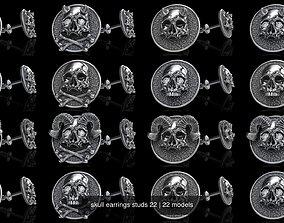 skull earrings studs 22 3D model