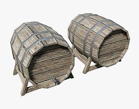 3D model Wooden Wine Barrel PBR