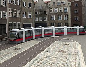 Tram Low Poly 3D asset