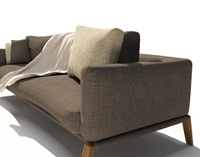 3D Brown sofa with Cushions seat