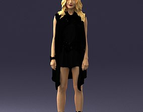 Blonde woman in black dress 0350 3D Print Ready