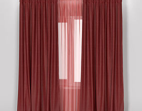 3D model IKEA ANNACAISE brown red thick curtains made of