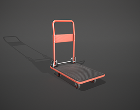 3D asset Folding Platform Truck - Trolley - Red