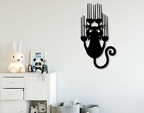 3D printable model Slipping cat for wall decoration