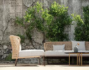 3D model Courtyard scene Outdoor plant sofa