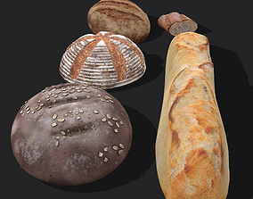 Medieval Style Breads Five Pack 3D model