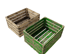 Box for potatoes wooden 3D model