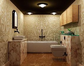 3D model Bathrooom Interior with realistice materials 2
