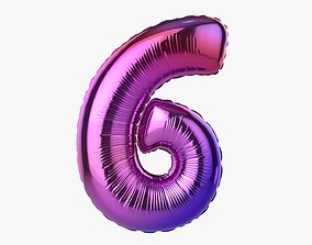3D model Foil balloon number six 6