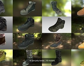16 low poly boots 3D