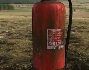 Dirty and dusty fire extinguisher 3D asset