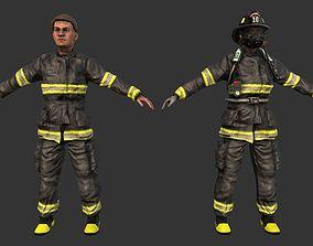 3D model Firefighter Fireman Helmet Game Ready