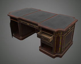 Classical wooden writing table 3D asset