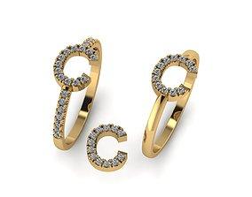 3D print model Alphabet letter ring C