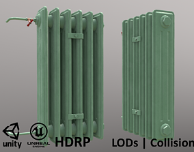 Old Radiator Tall Green - Unity - HDRP - UE4 3D asset