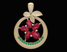 3D print model 1878 Diamond Flower Pendant